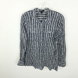 J Crew Heringbone Stripe Tunic Shirt Semi Sheer